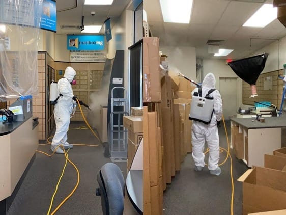 Man in hazmat suit spraying for mold