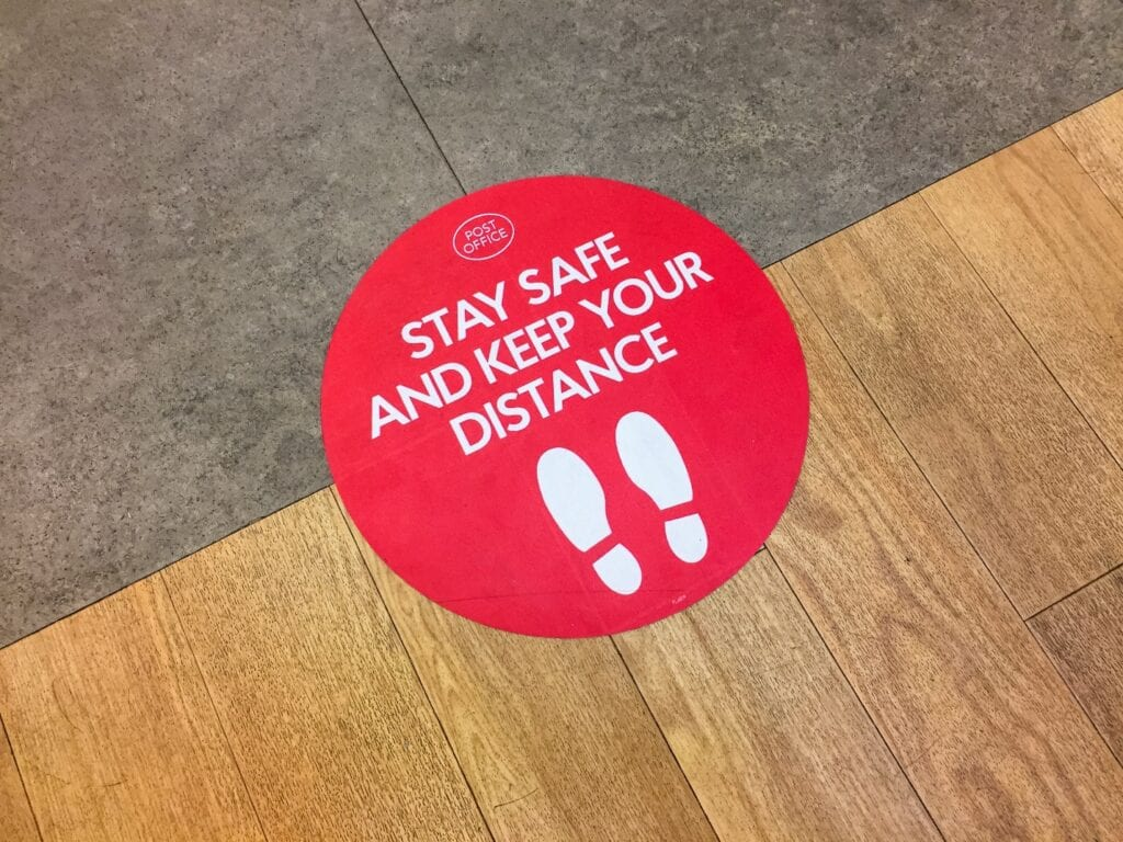 """Stay Safe and Keep Your Distance"" Floor Sticker"