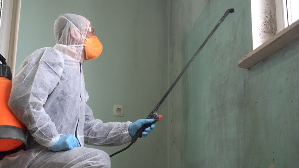 A man in a protective suit, glasses and a respirator sprays a disinfectant