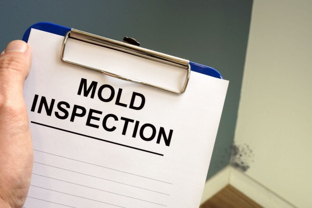 Documents about mold inspection with clipboard.
