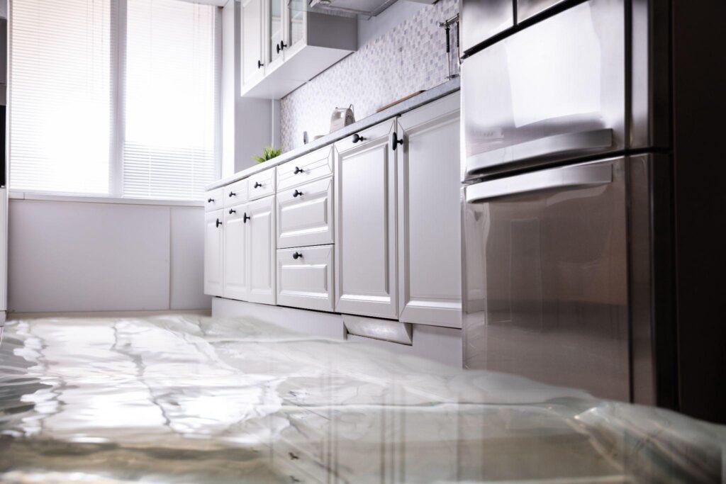 Flooded Floor in Kitchen From Water Leak