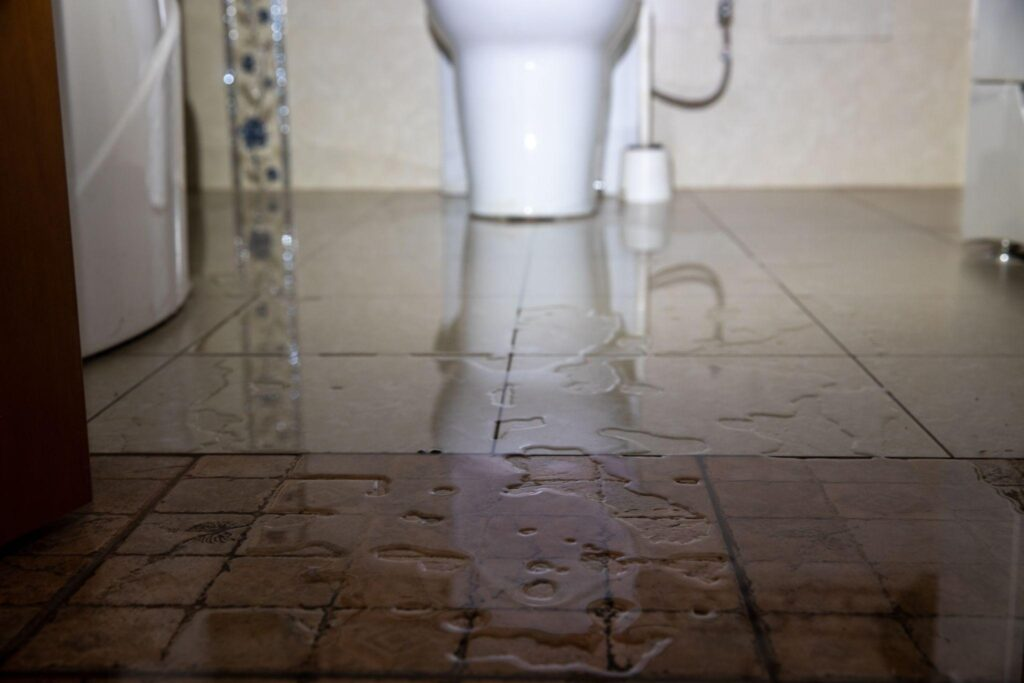 Water damage due a broken pipe or toilet